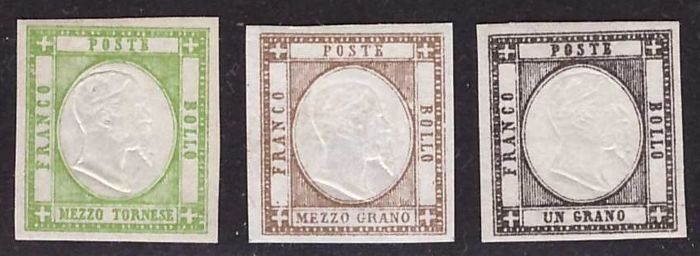 Neapolitan Province 1861 - issue with portrait of Vittorio Emanuele II - Sassone nos. 17/24