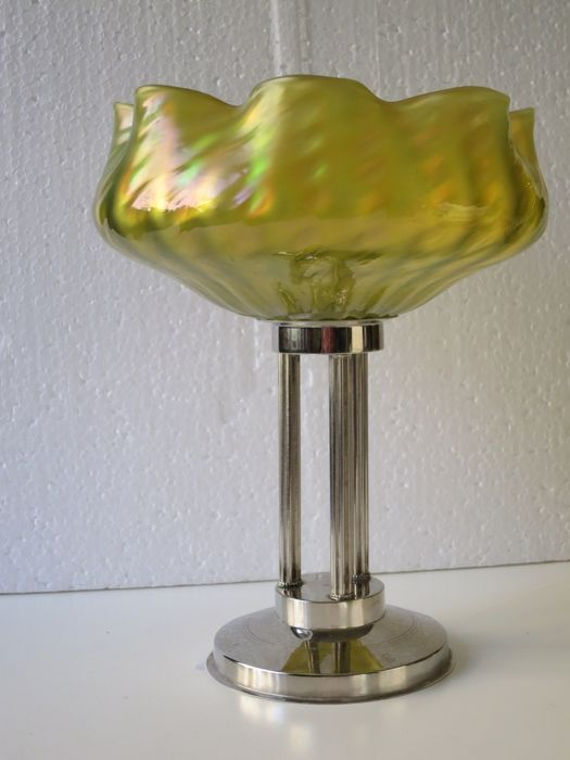 Table centerpiece Art Deco pate de verre bowl on white metal stand continental mid20th century