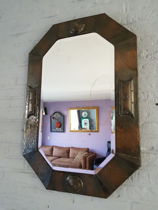 Amsterdam School mirror - copper - circa 1910-1920