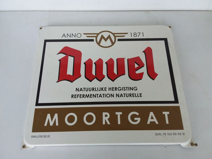 Enamel sign - Duvel Moortgat - Belgium 1985