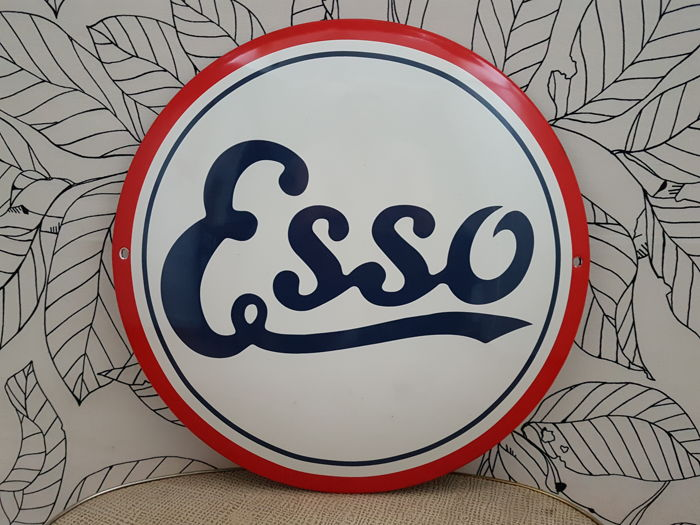 Enamel sign ESSO, petrol station, enamel sign, advertising sign, signboard, Plaque Emaillee