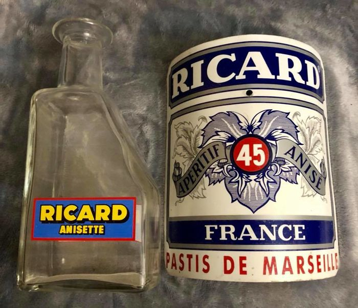 A set of two , vintage , french  advertising items , from RICARD ( Pastis de Marseille ) , A bottle , and , a metal enamelled advertising , years 1960´s