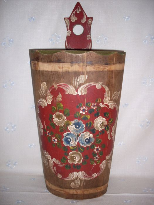 Antique butter churn, Wood, Hand painted flowers. Rustic Decor.