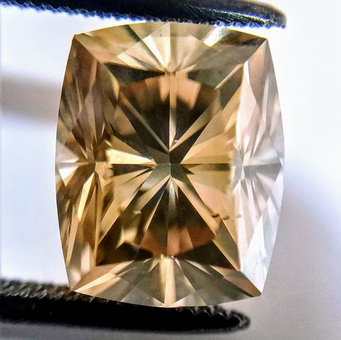 3.43 Carat Radiant Cut Fancy Yellowish Brown SI1 GIA