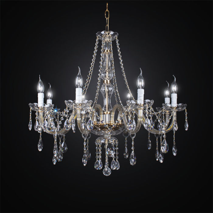 8-light Maria Theresa style crystal glass chandelier - made in Italy