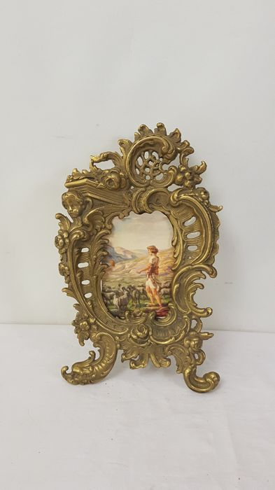 Large bronze / brass picture frame rococo style - cherub, France, first half 20th century