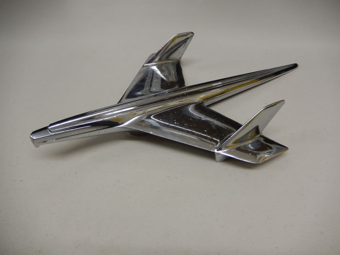 Vintage Original Chrome American Chevy Chevrolet Airplane Plane Flying Hood Ornament Mascot Deco Design in Good Used Condition