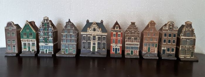 Set of 10 vintage Dutch miniature canal houses