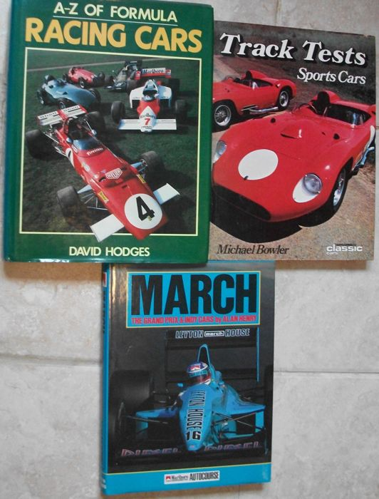 3x books on racing cars 1 A-Z of formula racing cars 2 Track tests sports cars 3 March grand prix & indy cars