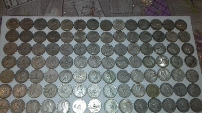 Republic of Italy - 500 Lire 1958/1968 (100 pieces) - silver