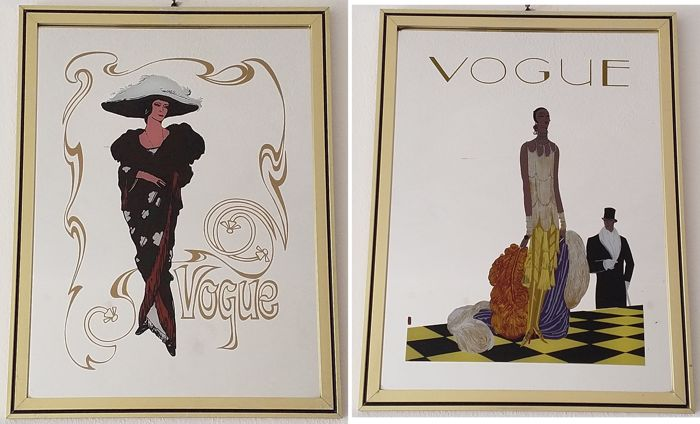 Pair of Vogue serigraph mirrors - Europe - 1980s