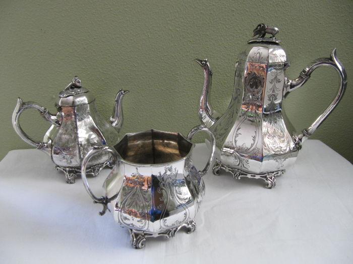 Buxton & Russel, antique coffeepot, tea pot and sugar bowl