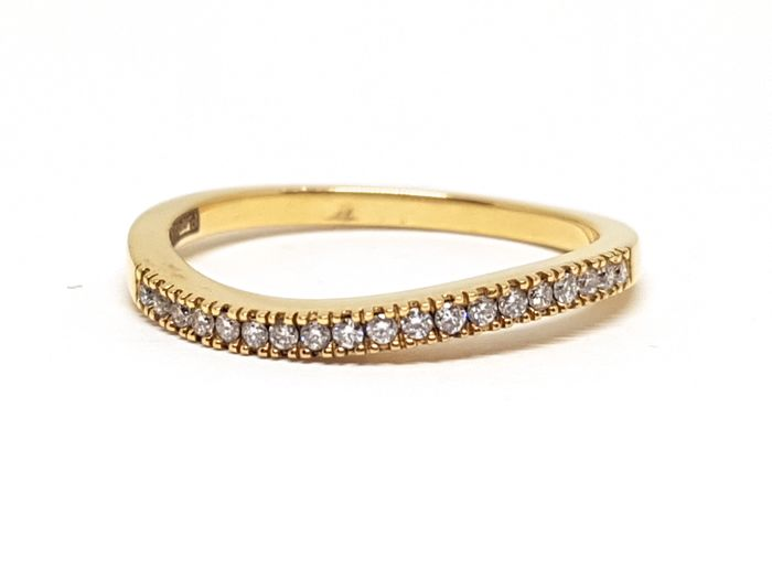 18K Yellow gold diamond alliance ring, total diamond weight: 0,32ct. -  Ring Size 54 / 17,00mm