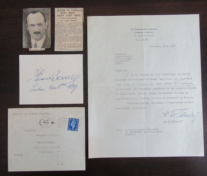 Autograph of Edouard Benes, President of Czechoslovakia, accompanied with a thank-you letter, envelope and newspaper clippings - November 18th, 1939