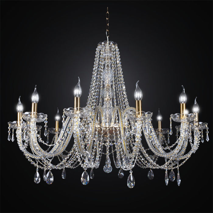 12-light Maria Theresa style crystal glass chandelier - made in Italy