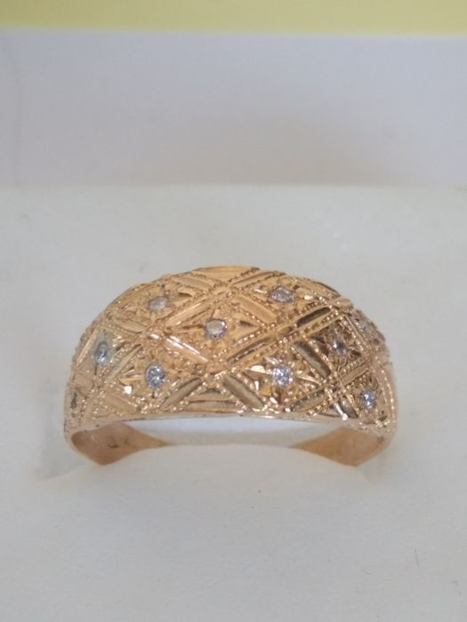 Ring in 22 kt yellow gold, 22 mm, 16 Pt, 7 1/2 USA , 56 Fr
