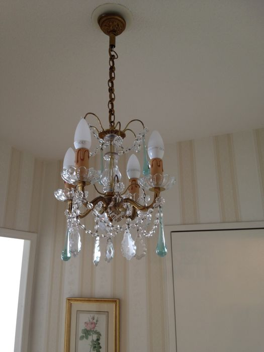 Old chandelier with Murano style glass pendants - 1950s/1960s - Italy