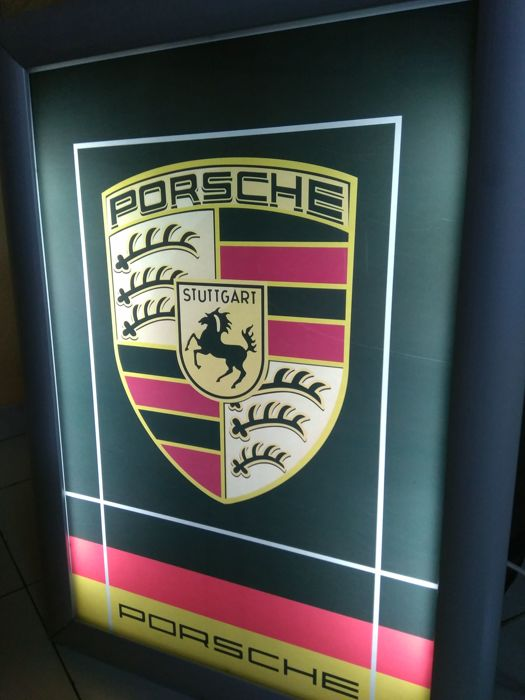Large luminous sign of PORSCHE, authorised dealer sign 20th century