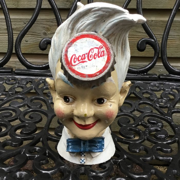 "Heavy original cast iron money box,, ""Sprite Boy"" of ""Coca Cola"" from the 1970s-80s"