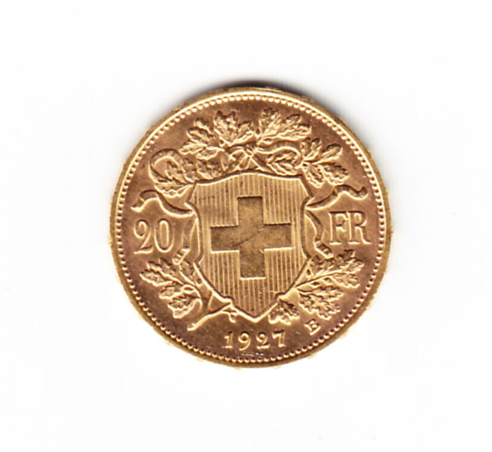 Switzerland - 20 Francs 1927B 'Vreneli' - Gold