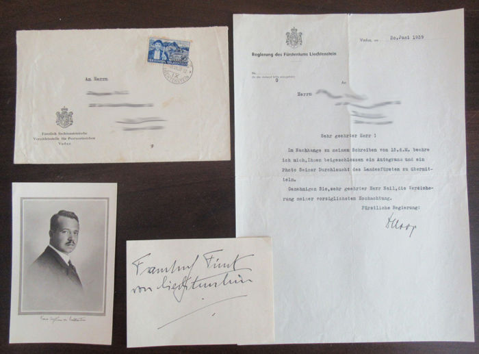 Autograph of Prince Franz Joseph II Liechtenstein along with its letter, envelope and a photography of the Prince - June 30th, 1939
