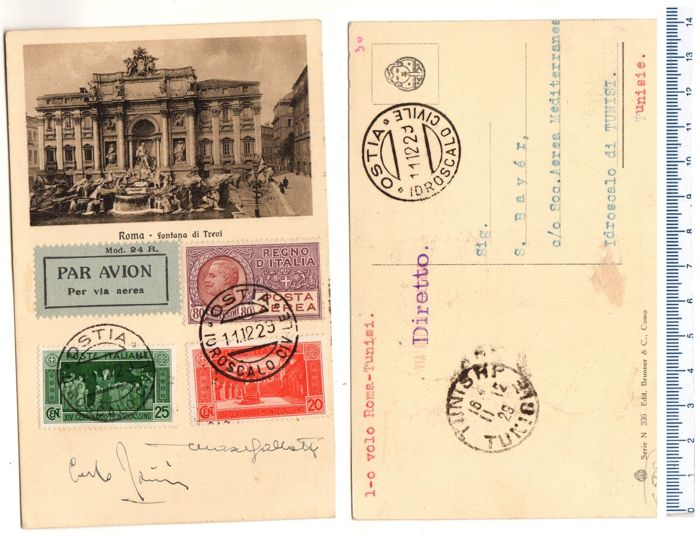 Italy, Kingdom, 1929 – Postcard for the 1st Rome-Tunis direct flight, sent via airmail (from Ostia), with 80 cent stamp
