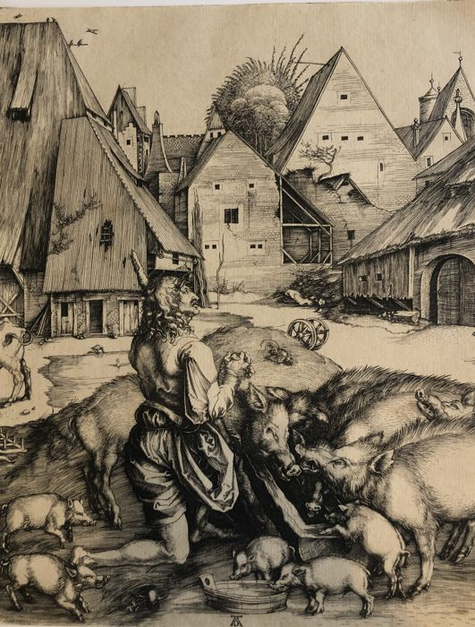 Albrecht Dürer -  The Prodigal Son Amid the Swine