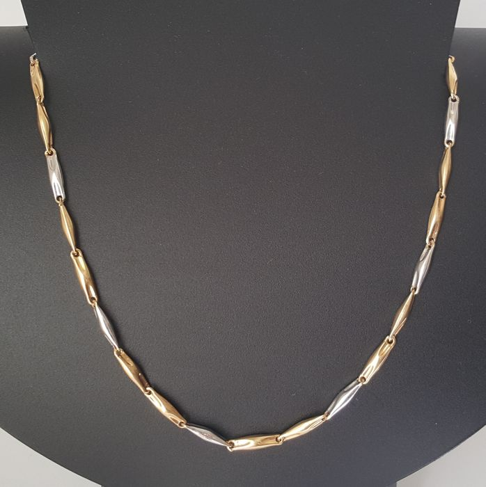 White and yellow 18 kt gold - bi-colour necklace - Length: 50 cm