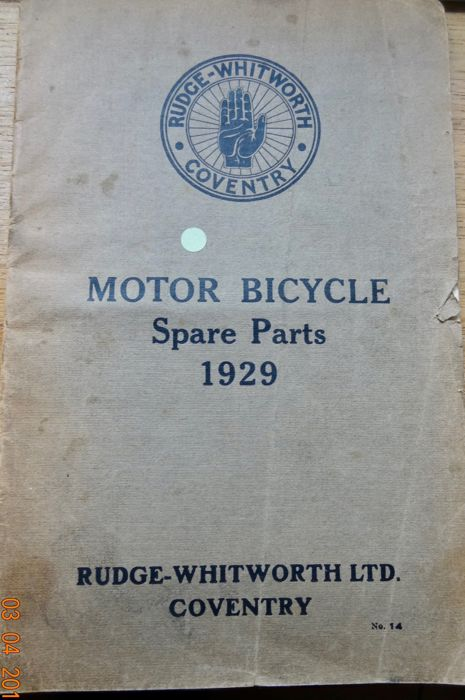 RUDGE-WITHWORTH Motor Bicycle Spare Parts 1929 - INDIAN  riders instruction book - ca.1930
