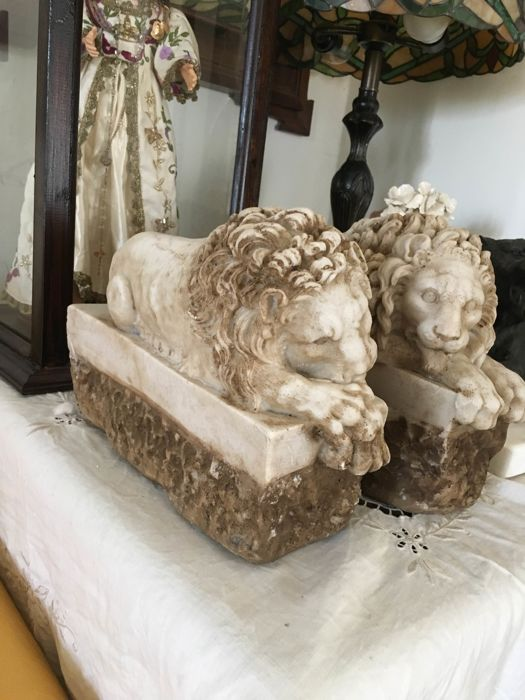 """Replica in marble dust of the two lions in the monument to Pope Clement XIII sculpted by Canova between 1783 and 1792. They are also known as the """"sleeping"""" and the """"vigil"""""""