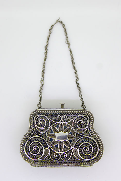 Antique Russian silver coin purse, Russia Circa. 19th Century