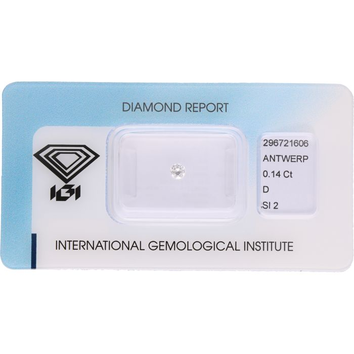 0.14 ct round brilliant cut diamond, D SI2