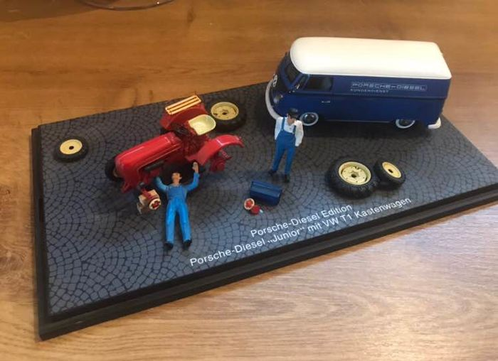 Porsche junior diorama and VW combi T1