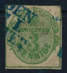 "Hanover 1863 - ""indication of value and crown in oval"", 3 Pfg. olive-green cut, Michel 20"