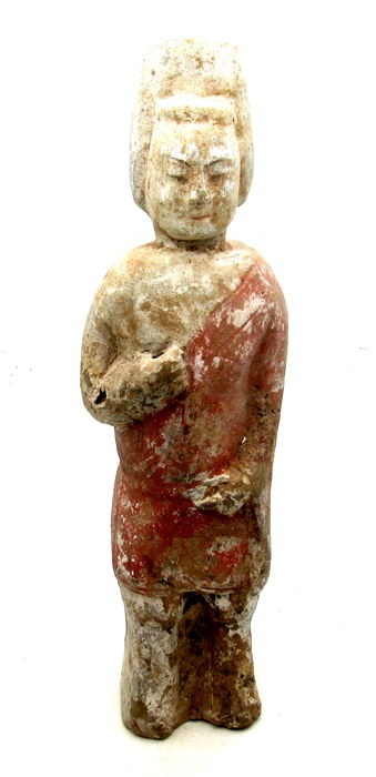 Ancient Chinese - Northern Qi Court Attendant Terracotta Figurine - 220 mm