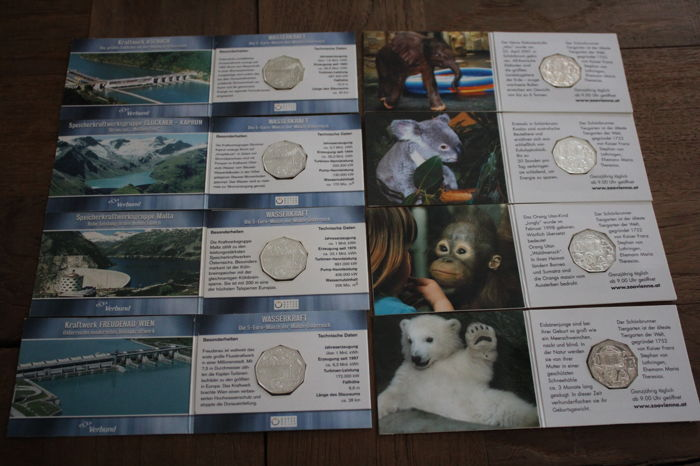 """Austria - 5 Euro 2002 and 2003 """"zoo and hydropower"""" - 8 coins in blister  Silver"""