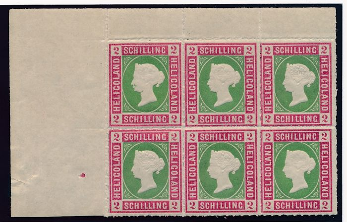 Helgoland 1867 - Queen Victoria, 2 S block of six from the left sheet corner margin, Michel 3
