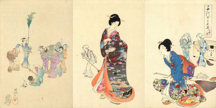 """Original woodblock print triptych by Toyohara Chikanobu (1838–1912) - """"Cleaning"""" from the series """"Ladies in Waiting of the Chiyoda Castle"""" - Japan - 1895"""