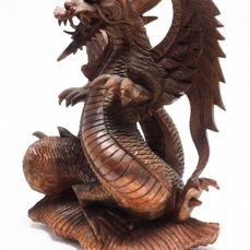 Dragon sculpture in handcarved noble wood - 32cm high