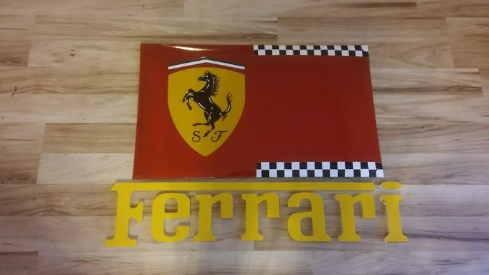 Composition: plexi inscription + metal plaque - porcelain enamel 75 / 45cm - FERRARI RACING motif - decorative / useful as: menu, table of daily tasks, notepad for the wall, etc.