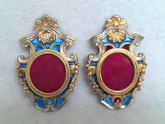 Pair of silver frames partially gold-plated and enamelled Silversmith Enea Stefani Bologna (Italy), 20th c