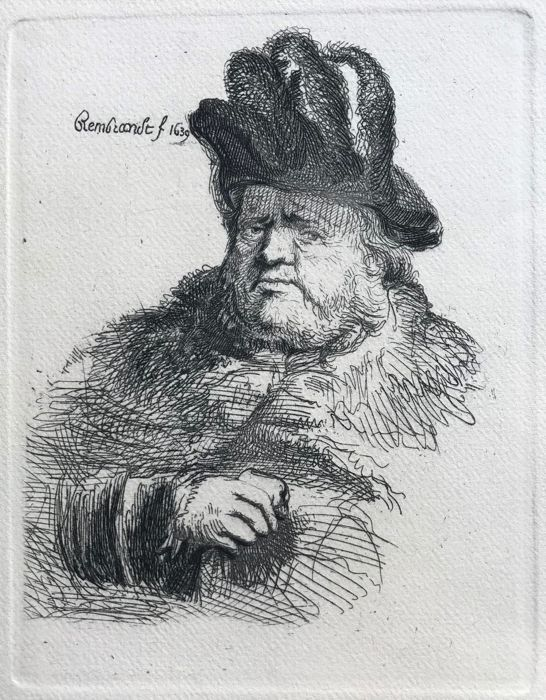 After Rembrandt van Rijn (1606-1669) - Man with a fur cap with plumes