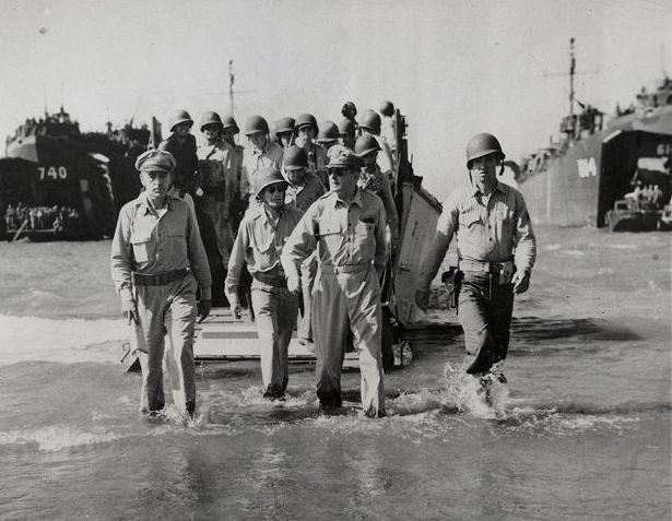 Carl Mydans (1907-2004) - General MacArthur wades ashore on Luzon island, The Phillipines, 1944