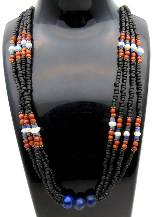 Ancient Roman Glass & Stone Beaded Necklace  - 545 mm