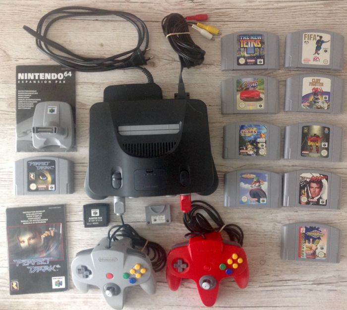 Nintendo 64 with 10 games, 2 controllers, all cables, expansion pak and transfer pak.