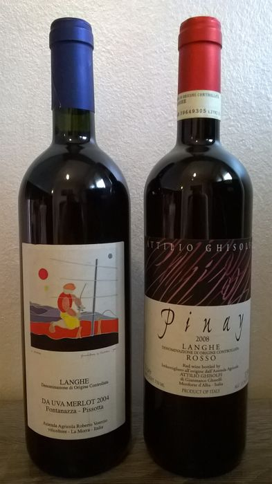 "2004 Roberto Voerzio Langhe Rosso (Merlot) ""Fontanazza-Pissotta"" & 2008 Attilio Ghisolfi Langhe Rosso (Pinot Noir) ""Pinay"" - 2 bottles (75 cl)"