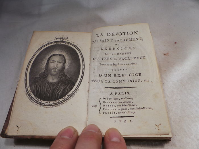Ancient religious book with engravings - devotion to the Blessed Sacrament - France - 1791