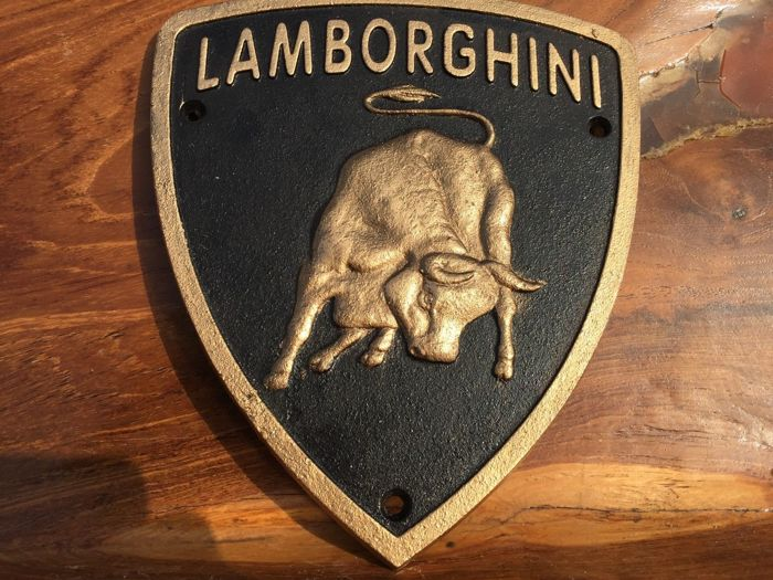 Lamborghini metal sign, 1980s, promotion for collectors and workshop