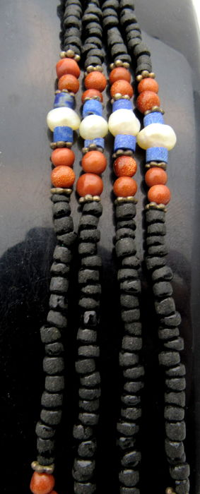 Ancient Roman Glass & Stone Beaded Necklace- 545 mm
