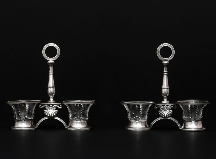 Pair of French Sterling Silver Double Open Salt Service, D. G. Garreau, France 1817 - 1830